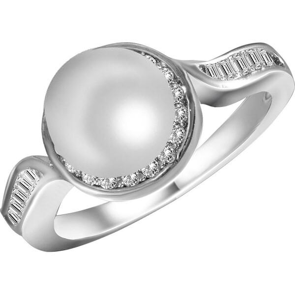 Кольцо из серебра с жемчугом (пресноводным) и куб. циркониями, размер 16 (1701824) от Allo UA