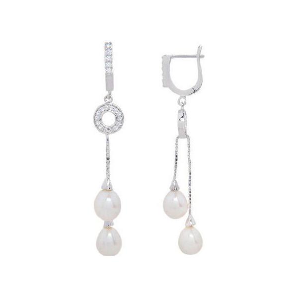 Купить со скидкой Серьги из серебра с жемчугами (пресноводными) и куб. циркониями (145202)