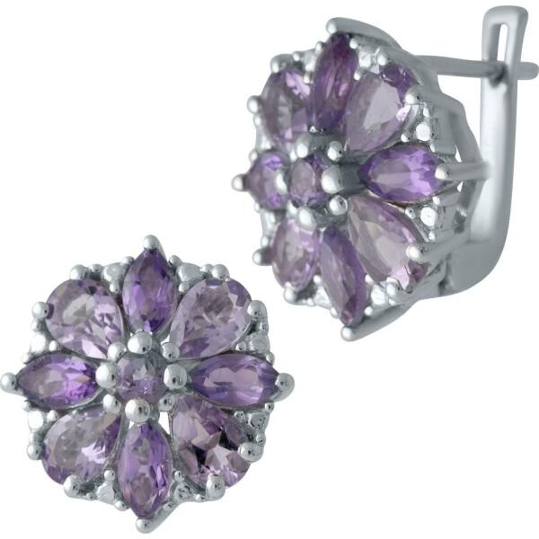 Купить Серебряные серьги, Серьги из серебра с аметистами и куб. циркониями (1701872), Fresh Jewelry