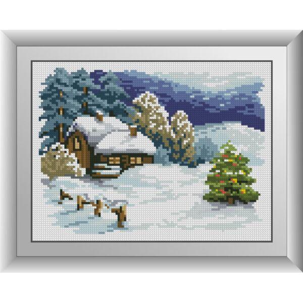 Набор для рисования камнями алмазная живопись Dream Art Заснеженный домик (квадратные, полная) 30960D