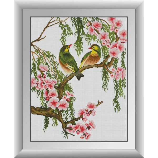 Набор для рисования камнями алмазная живопись Dream Art Влюбленные птички (квадратные, полная) 31013D