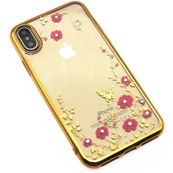 Купить Чехлы для телефонов, Чехол-накладка TOTO TPU electroplating edge with flower pattern iPhone X Gold