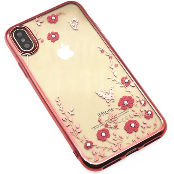 Купить Чехлы для телефонов, Чехол-накладка TOTO TPU electroplating edge with flower pattern iPhone X Rose Gold