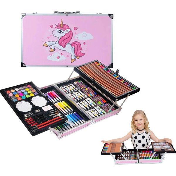 Набор художественный для творчества рисования в алюминиевом чемодане Единорог 145 предметов (822829754-Т) Розовый