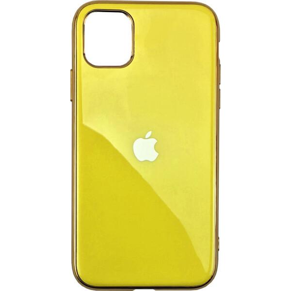 Чехол накладка xCase на iPhone 11 Pro Glass Silicone Case Logo yellow