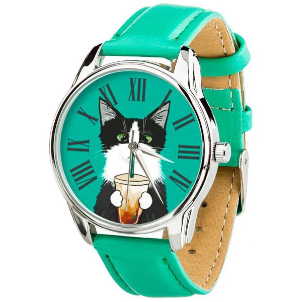 Наручные часы, Часы ZIZ Кот со стаканом ремешок мятно-бирюзовый серебро дополнительный ремешок (4614564)  - купить со скидкой