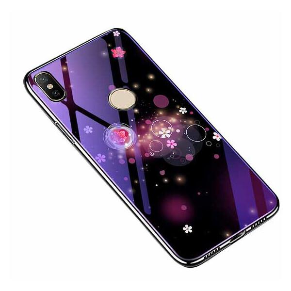 Купить Чехлы для телефонов, TPU+Glass чехол Fantasy с глянцевыми торцами для Xiaomi Mi A2 Lite / Xiaomi Redmi 6 Pro Пузырьки и цветы, Epik