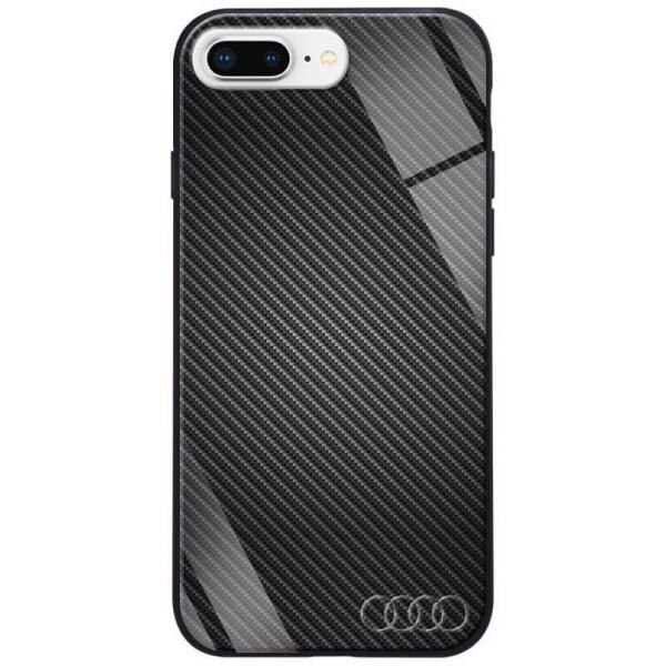 Купить Чехлы для телефонов, TPU+Glass чехол ForFun для Apple iPhone 7 plus / 8 plus (5.5 ) Черный Карбон/Ауди, Epik