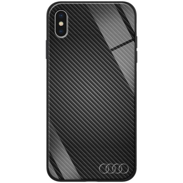 Купить Чехлы для телефонов, TPU+Glass чехол ForFun для Apple iPhone X / XS (5.8 ) Черный Карбон/Ауди, Epik