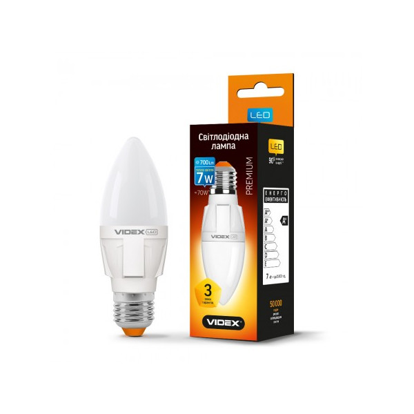 Купить Лампочки, Лампа светодиодная Videx C37 7W E27 3000K 220V (VL-C37-07273)