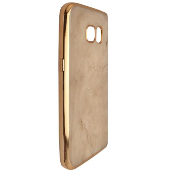Купить Чехлы для телефонов, Чехол-накладка DK-Case силикон Мрамор с хром бортом для Samsung S7 edge (cream)