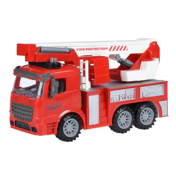 Купить Машинки, техника игровая, Машинка инерционная Same Toy Truck Пожарная машина с подъемным краном со светом и звуком (98-617AUt)