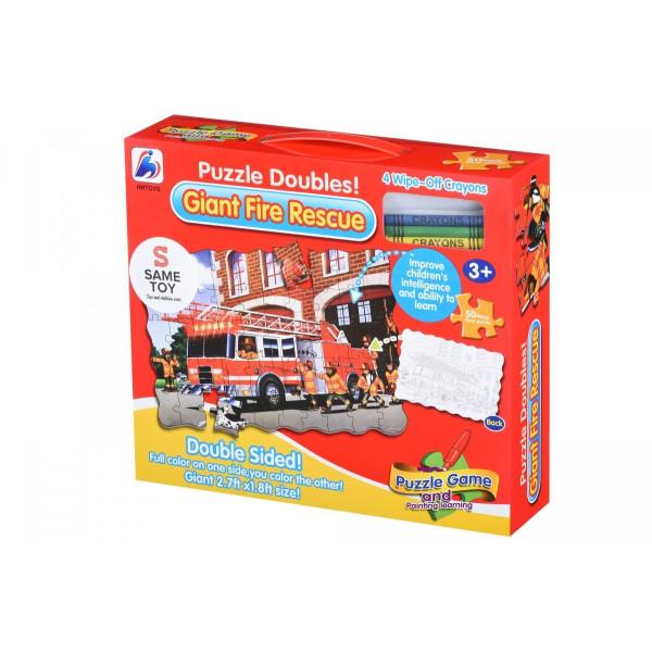 Купить Пазлы, Пазл-раскраска Same Toy Пожарная машина (2038Ut)