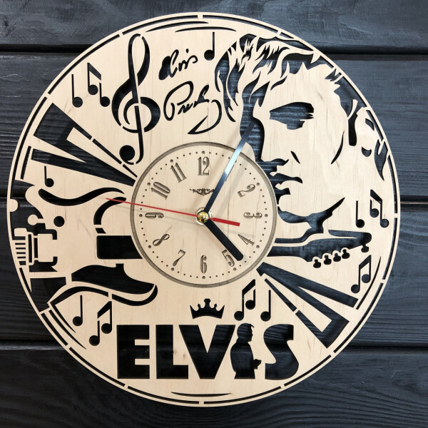 Купить Настенные часы, Дизайнерские настенные часы из дерева «Elvis», 7Arts