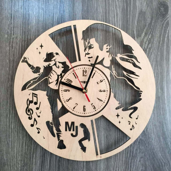 Купить Настенные часы, Концептуальные часы из дерева на стену «Легендарный Майкл Джексон», 7Arts