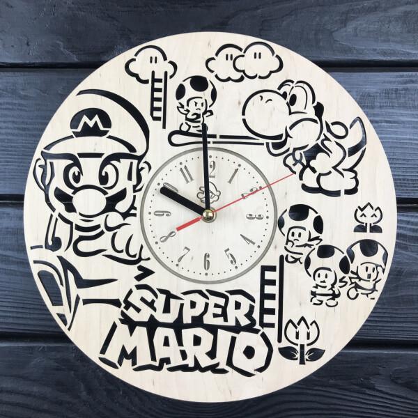 Купить Настенные часы, Стильные настенные деревянные часы «Супер Марио», 7Arts