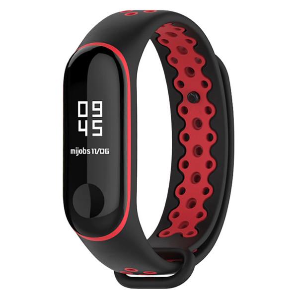 ilounge / Ремешок для фитнес-браслета Xiaomi Mi Band 3 Mijobs Sport Black/Red