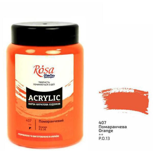 Купить Наборы для творчества и рукоделия, Краска акриловая матовая Rosa Studio Оранжевая (407) 400 мл (322419407)