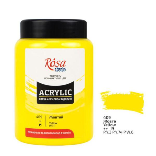 Купить Наборы для творчества и рукоделия, Краска акриловая матовая Rosa Studio Желтая (409) 400 мл (322419409)