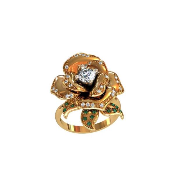 Кольцо в виде розы Maxi Silver 8432 SE, размер 21.5