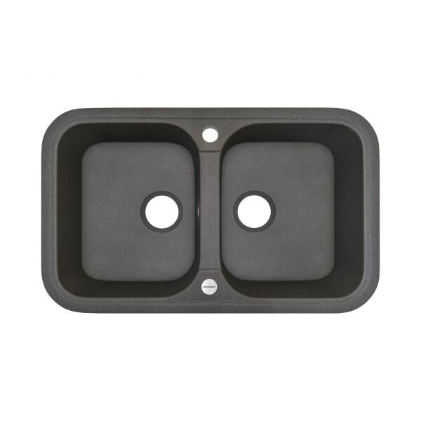 Кухонные мойки, Кухонная мойка гранитная Adamant TWINS сірий-04  - купить со скидкой