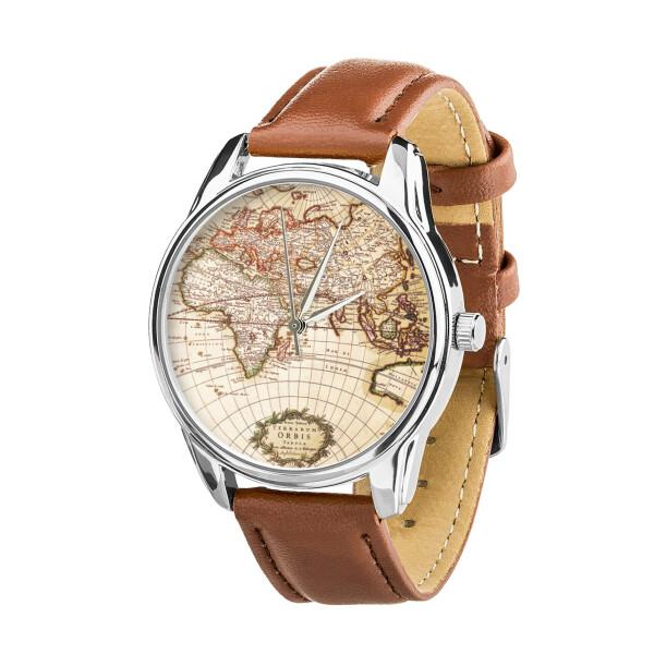 Купить Наручные часы, Часы ZIZ Карта (ремешок кофейно - шоколадный, серебро) + дополнительный ремешок