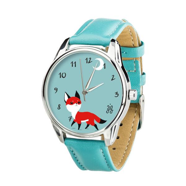 Купить Наручные часы, Часы ZIZ Маленький лис (ремешок небесно - голубой, серебро) + дополнительный ремешок