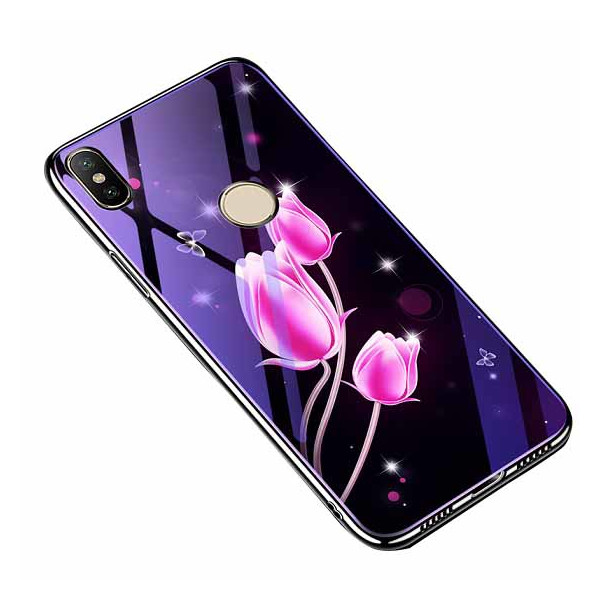Купить Чехлы для телефонов, TPU+Glass Fantasy с глянцевыми торцами для Xiaomi Mi A2 Lite / Xiaomi Redmi 6 Pro (Тюльпаны) (660421), Epik