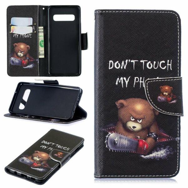 Купить Чехлы для телефонов, Чехол-книжка Deexe Color Wallet для Samsung Galaxy S10 (G973) - Bear and Warnings