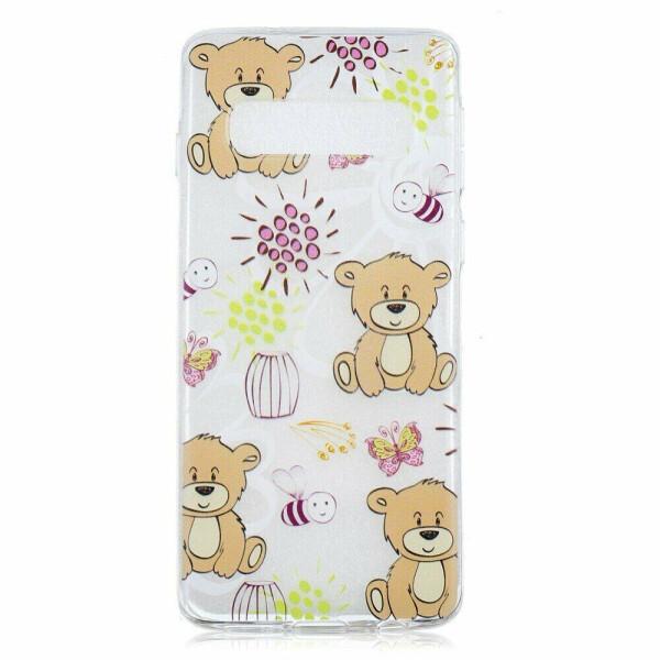 Купить Чехлы для телефонов, Силиконовый (TPU) чехол Deexe Pretty Glossy для Samsung Galaxy S10 (G973) - Bear