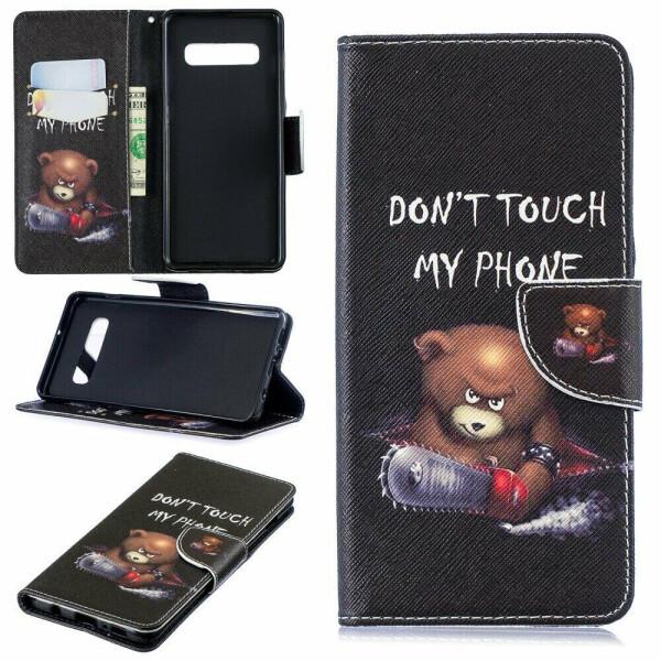 Купить Чехлы для телефонов, Чехол-книжка Deexe Color Wallet для Samsung Galaxy S10 Plus (G975) - Bear and Warnings