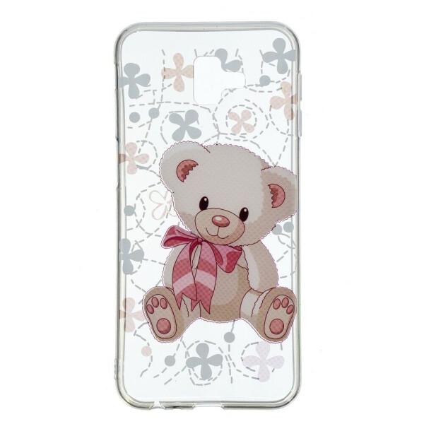Купить Чехлы для телефонов, Силиконовый (TPU) чехол Deexe Pretty Glossy для Samsung Galaxy J6+ (J610) - Adorable Bear