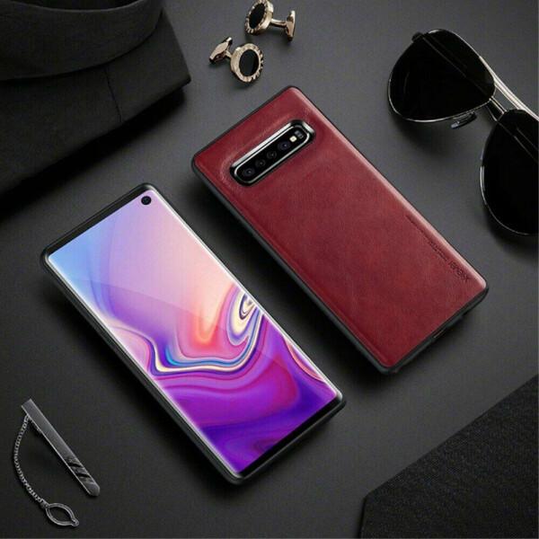 Купить Чехлы для телефонов, Защитный чехол X-LEVEL Leather Back Cover для Samsung Galaxy S10 Plus (G975) - Red