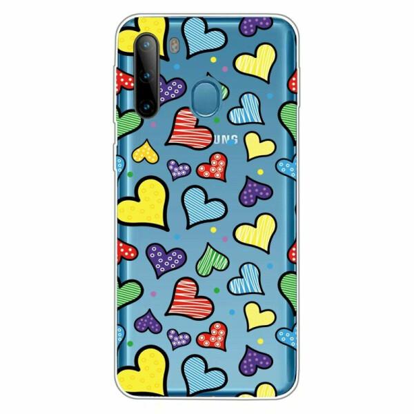 Купить Чехлы для телефонов, Силиконовый (TPU) чехол Deexe Pretty Glossy для Samsung Galaxy A21 (A215) - Colorized Hearts