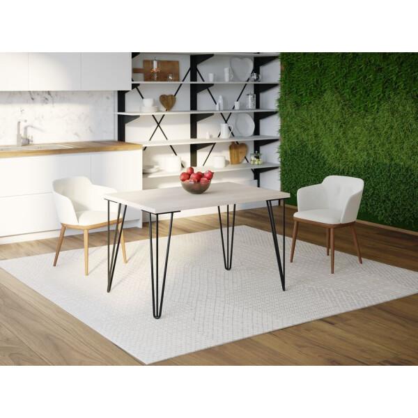 Купить Обеденные столы, Обеденный стол Skandi Wood SW051 Кентукки 120 х 80 х 75 см МДФ+Шпон Дуб Белый (SW05112875WhOMDF)