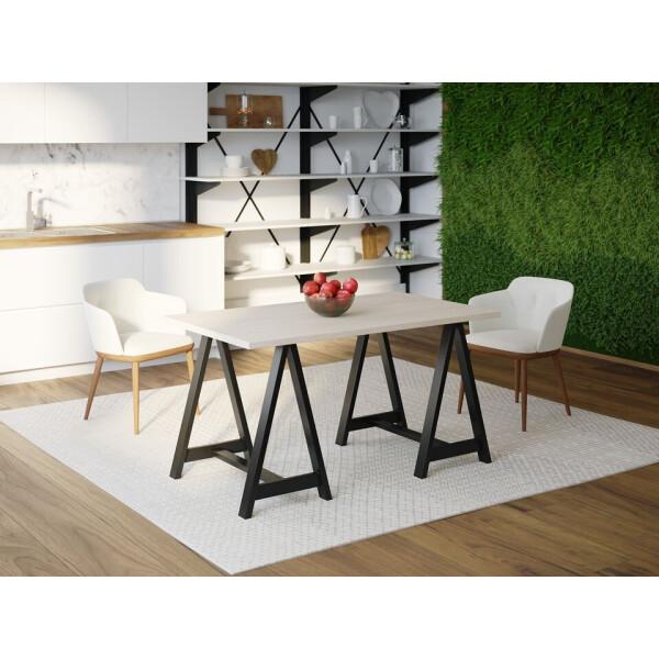 Купить Обеденные столы, Обеденный стол Skandi Wood SW060 Джерси 120 х 80 х 75 см МДФ+Шпон Дуб Белый (SW06012875WhOMDF)