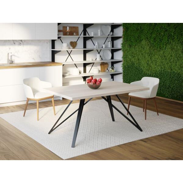 Купить Обеденные столы, Обеденный стол Skandi Wood SW065 Орегон 120 х 80 х 75 см МДФ+Шпон Дуб Белый (SW06512875WhOMDF)