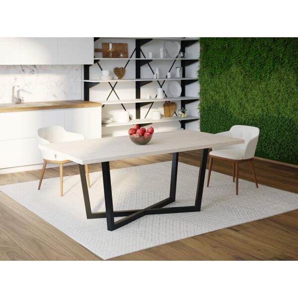 Купить Обеденные столы, Обеденный стол Skandi Wood SW071 Флорида 200 х 80 х 75 см МДФ+Шпон Дуб Белый (SW07120875WhOMDF)