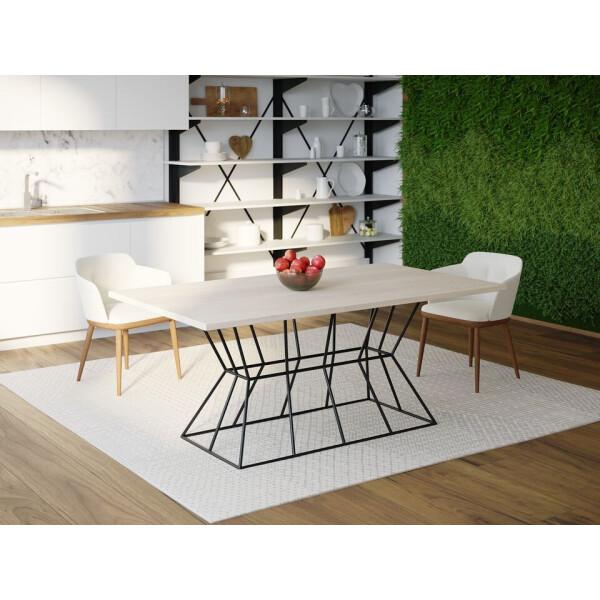 Купить Обеденные столы, Обеденный стол Skandi Wood SW077 Олбани 120 х 80 х 75 см МДФ+Шпон Дуб Белый (SW07712875WhOMDF)