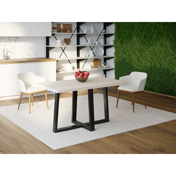 Купить Обеденные столы, Обеденный стол Skandi Wood SW058 Пирр 120 х 80 х 75 см МДФ+Шпон Дуб Белый (SW05812875WhOMDF)
