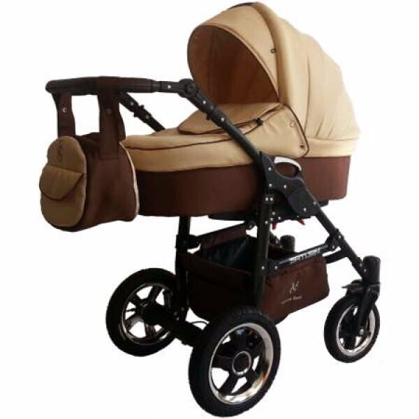 Купить Коляски, Детская универсальная коляска 2 в 1 Victoria Gold Saturn 3 NEW, бежевая с коричневым (124109-2)