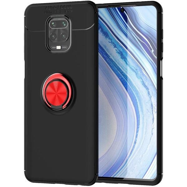 Купить Чехлы для телефонов, TPU чехол Deen ColorRing под магнитный держатель (opp) для Xiaomi Redmi Note 9s/Note 9 Pro/9 Pro Max Черный / Красный, Epik