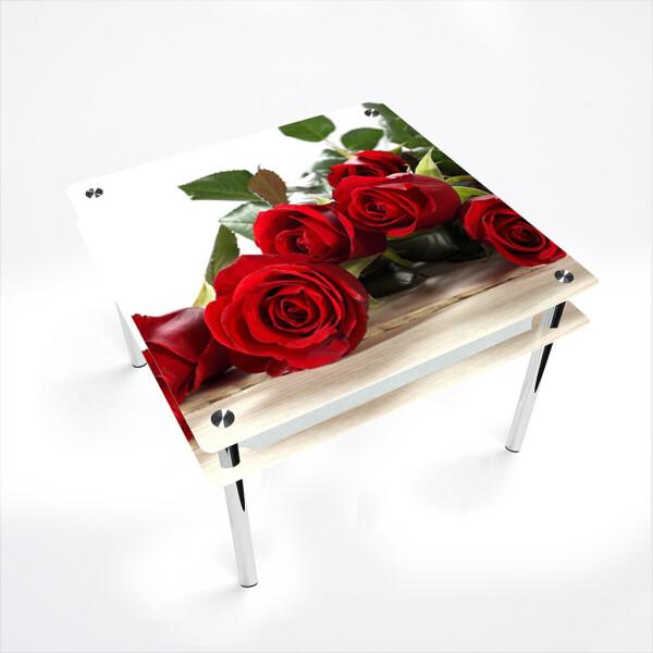 Купить Обеденные столы, Стол БЦ-стол Квадратный с проходящей полкой Red Roses (900 x 900 x 750), БЦ-Стол