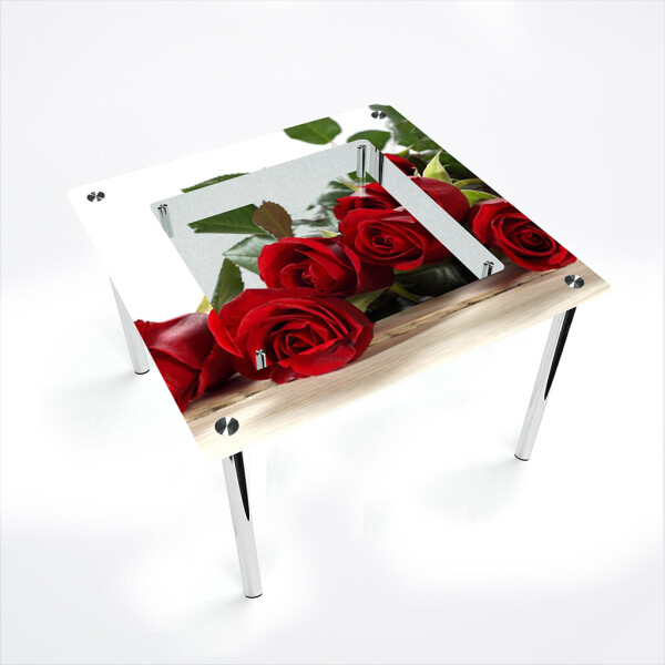 Обеденные столы, Стол БЦ-стол Квадратный с полкой Red Roses (1100 x 1100 x 750), БЦ-Стол  - купить со скидкой