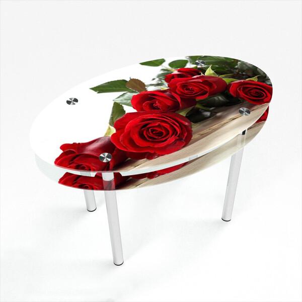 Купить Обеденные столы, Стол БЦ-стол Овальный с проходящей полкой Red Roses (650 x 1100 x 750), БЦ-Стол