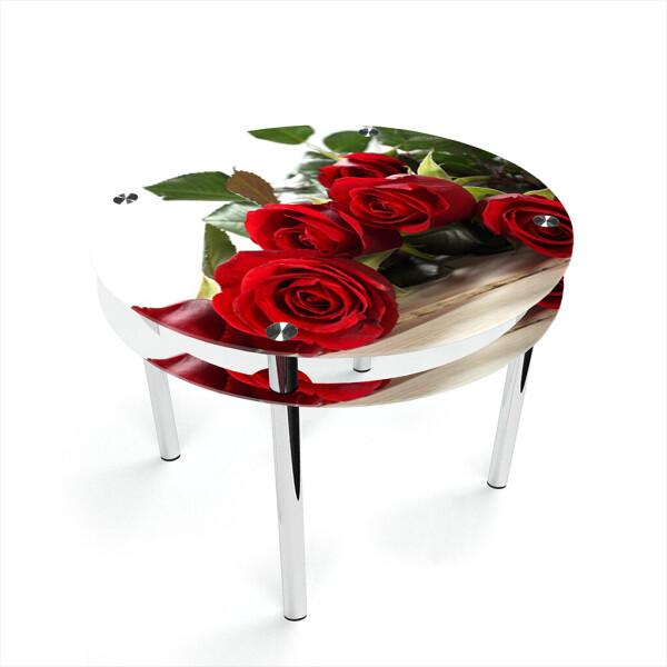 Купить Обеденные столы, Стол БЦ-стол Круглый с проходящей полкой Red Roses (1100 x 1100 x 750), БЦ-Стол