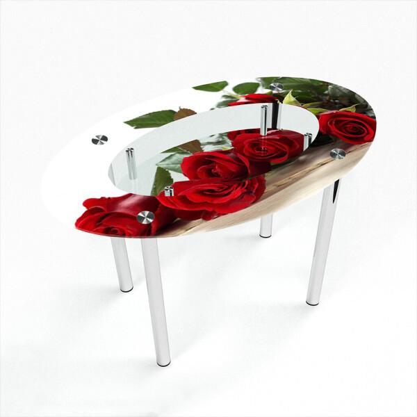 Купить Обеденные столы, Стол БЦ-стол Овальный с полкой Red Roses Эко (650 x 1100 x 750), БЦ-Стол