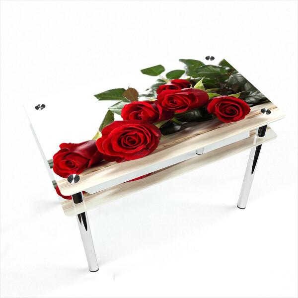 Купить Обеденные столы, Стол БЦ-стол Прямоугольный с проходящей полкой Red Roses (650 x 1100 x 750), БЦ-Стол