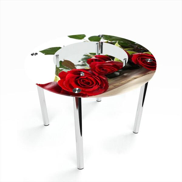 Купить Обеденные столы, Стол БЦ-стол Круглый с полкой Red Roses (1100 x 1100 x 750), БЦ-Стол