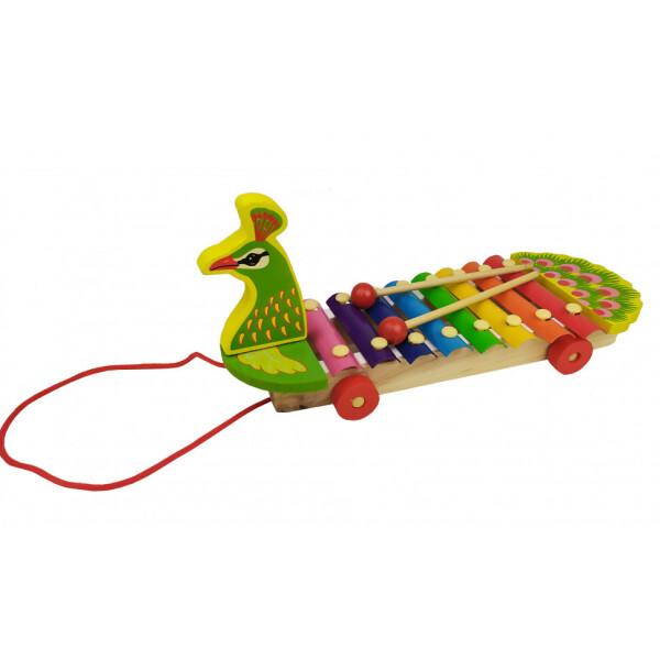 Купить Детские музыкальные инструменты, Деревянная игра 3057 Ксилофон (Павлин), Metr+